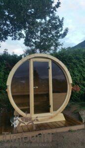 Outdoor barrel sauna mini small 2 4 persons 3