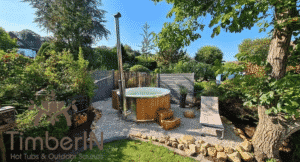 Wood burning heated hot tubs with jets TimberIN Rojal