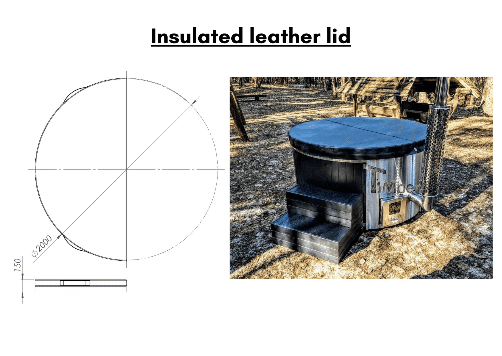 Black Insulated leather lid Outdoor whirlpool hot tub with Smart pellet stove 3