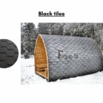 Black tiles for outdoor sauna
