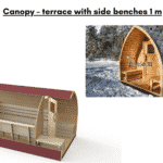 Canopy – terrace with side benches 1 m for outdoor sauna