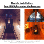 Electric installation. Few LED lights under the benches for outdoor sauna