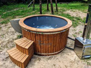 Fiberglass outdoor hot tub with external heater 18