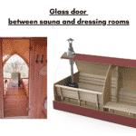 Glass door between sauna and dressing rooms for outdoor sauna