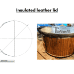 Insulated leather lid for wooden hot tub 1