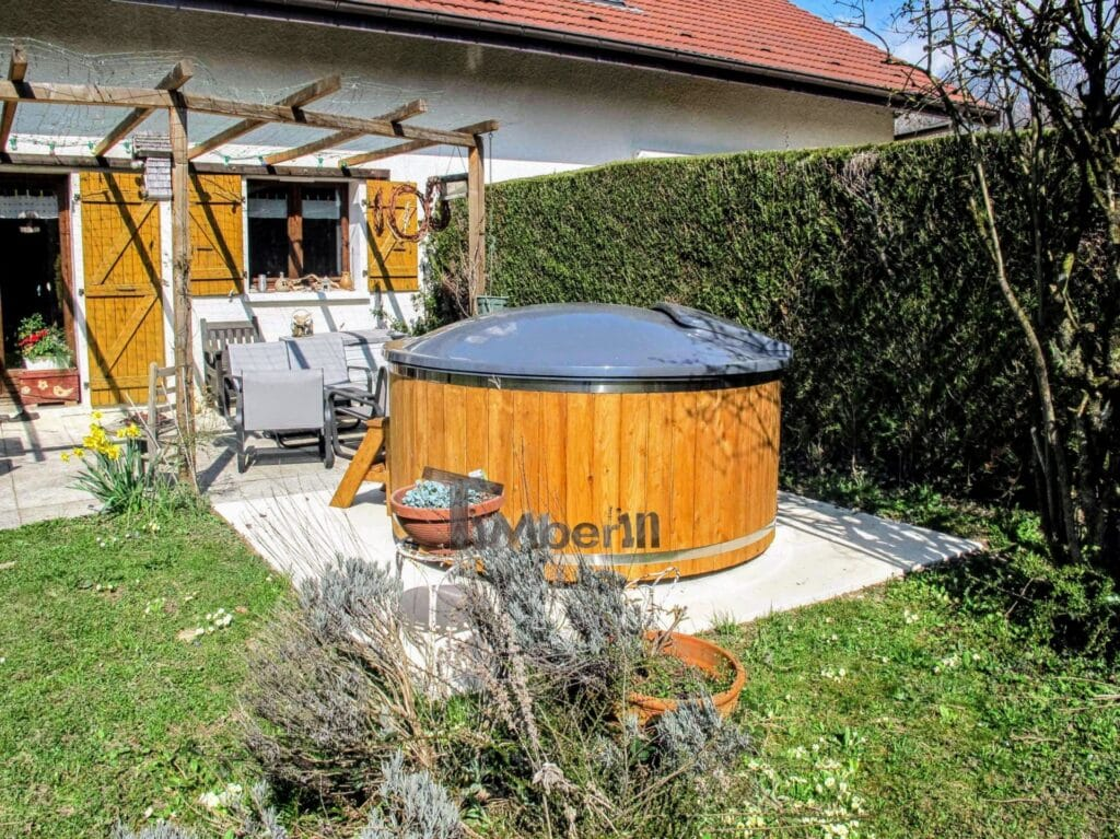 Outdoor jacuzzi hot tub wood fired 4 6 persons with snorker burner 2 scaled scaled