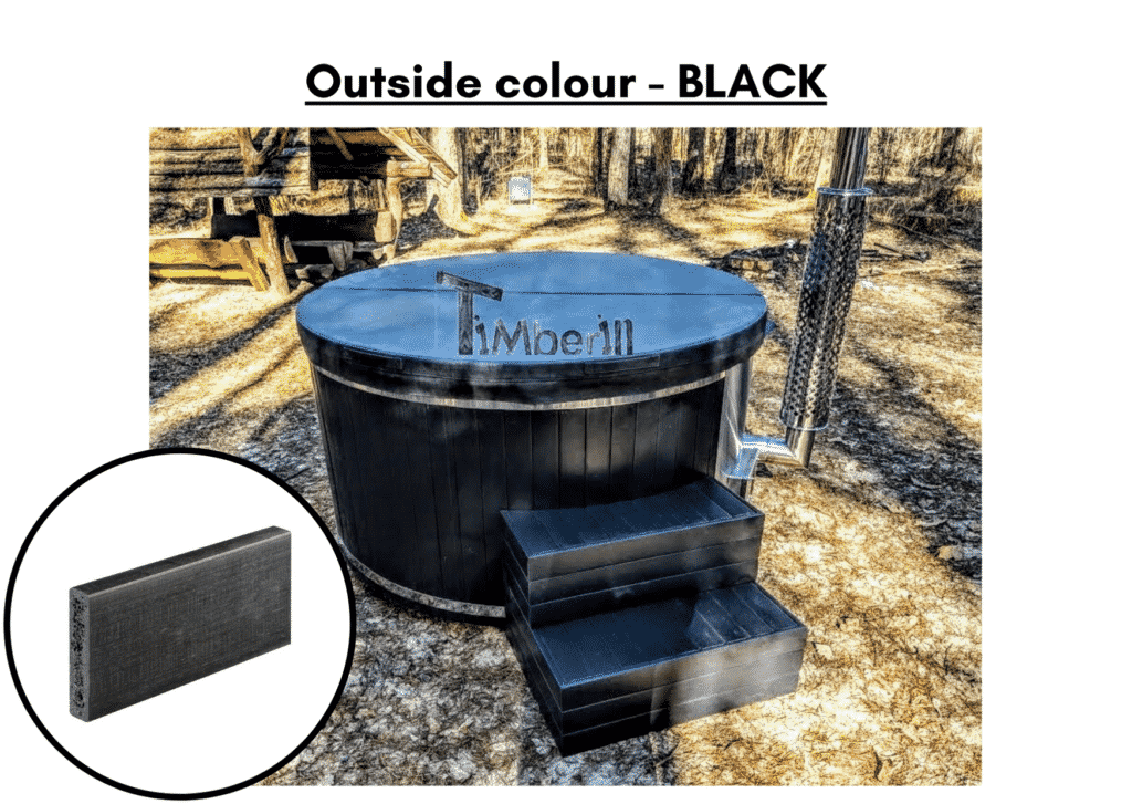 Outside colour black Outdoor whirlpool hot tub with Smart pellet stove 4