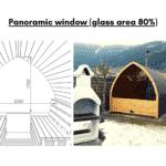 Panoramic window glass area 80 for outdoor sauna