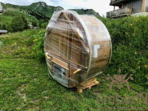 Round wood powered hot tub 1