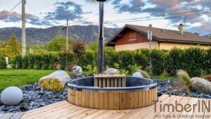 Round wood powered hot tub 2