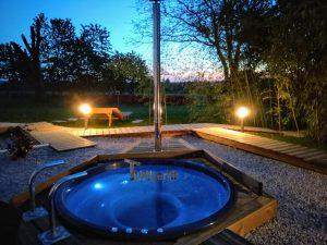 Wellness Hot Tub With External Wood Burner Sunken model 2