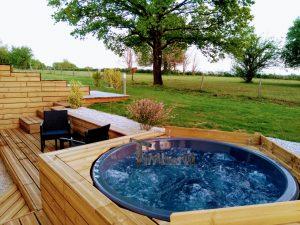 Wellness Hot Tub With External Wood Burner Sunken model 3