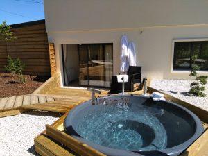 Wellness Hot Tub With External Wood Burner Sunken model 4