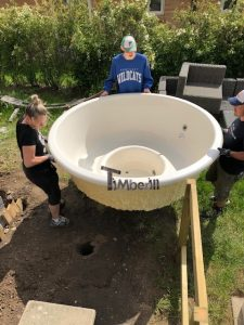 Wellness hot tub with external wood fired burner 2