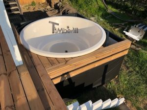 Wellness hot tub with external wood fired burner 5
