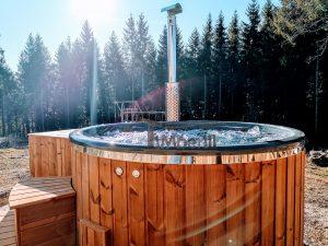 Wood burning fiberglass hot tub with jets Wellness Royal 4