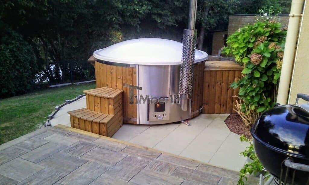 Wood burning fiberglass hot tub with jets Wellness Royal scaled
