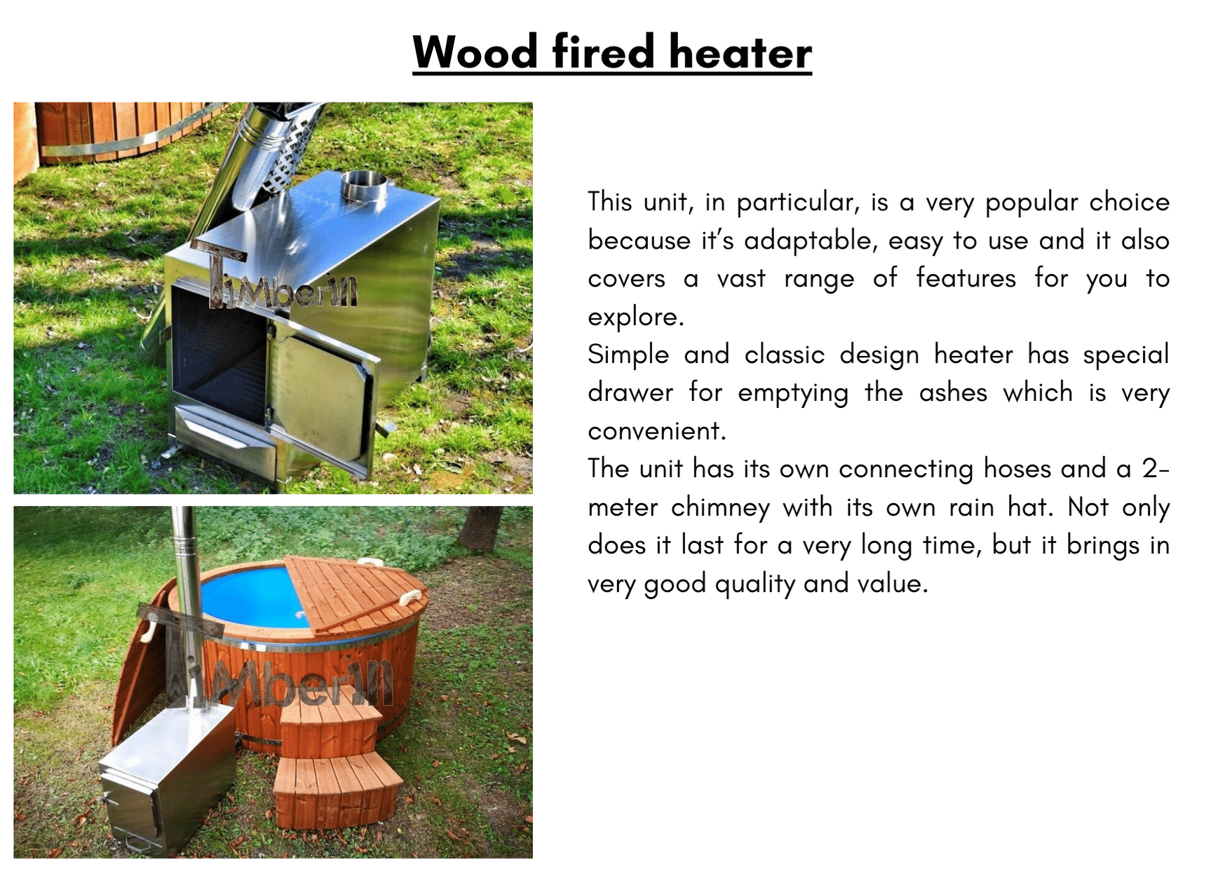 Wood fired heater 6 8 person outdoor hot tub with external burner 1