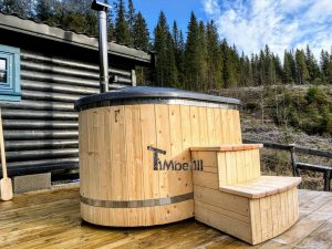 Wooden fiberglass ofuro hot tub for two 2 scaled