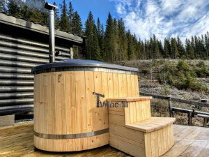 Wooden fiberglass ofuro hot tub for two 4 scaled