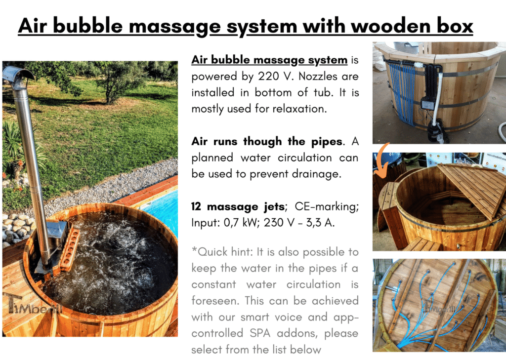 Wooden hot tub cheap model Air bubble massage system with wooden box 3 1