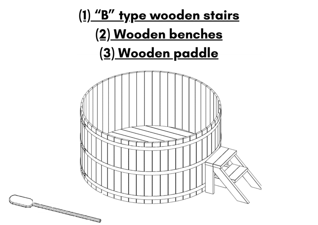 Wooden hot tub cheap model B type wooden stairs Wooden benches 1 1
