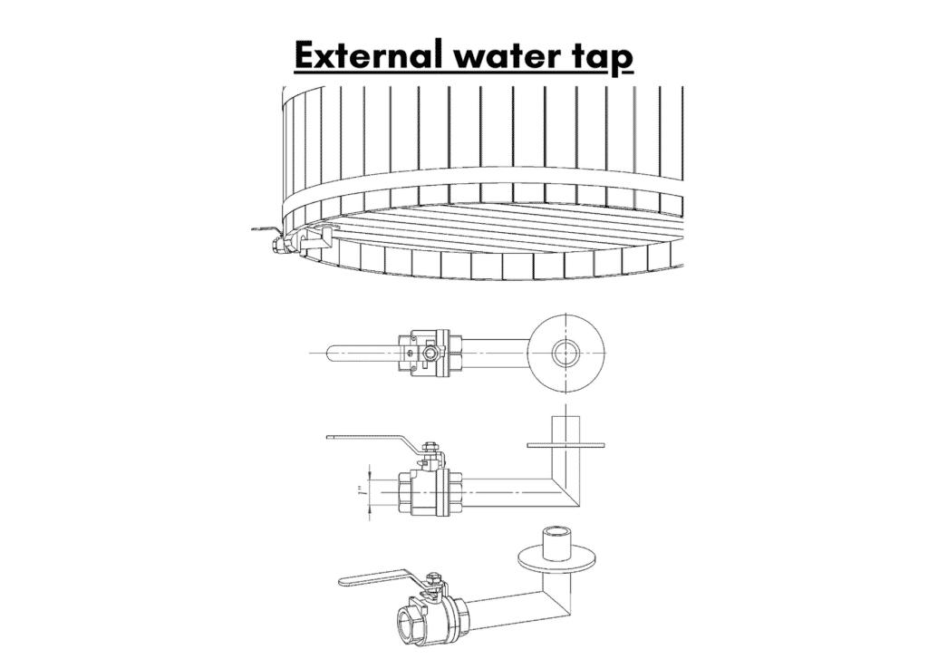 Wooden hot tub cheap model External water tap 12 1