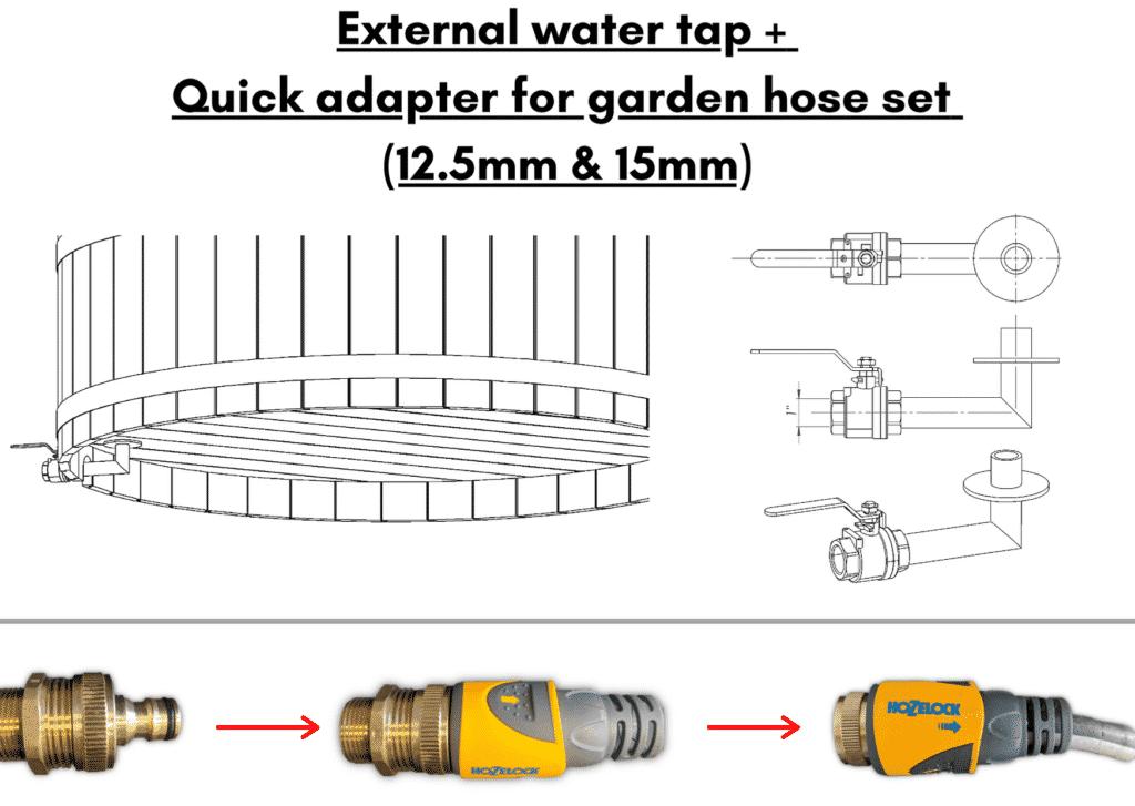 Wooden hot tub cheap model External water tap Quick adapter for garden hose set 13 1