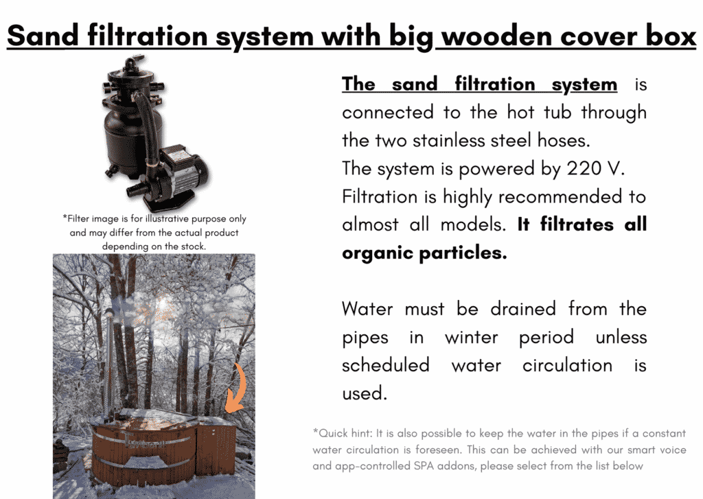 Wooden hot tub cheap model Sand filtration system with big wooden cover box4 1