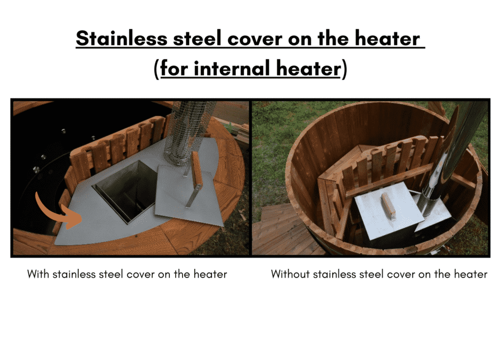 Wooden hot tub cheap model Stainless steel cover on the heater 8 1