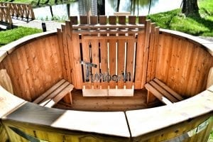 Wooden hot tub thermowood deluxe spa model 13