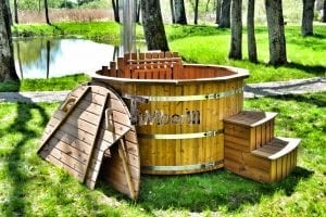 Wooden hot tub thermowood deluxe spa model 19