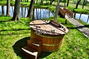 Wooden hot tub thermowood deluxe spa model 27