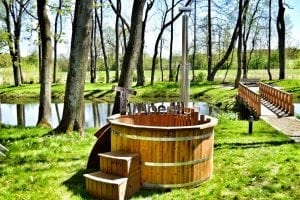 Wooden hot tub thermowood deluxe spa model 5
