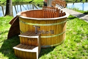 Wooden hot tub thermowood deluxe spa model 6
