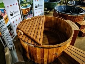 wooden hot tub thermo wood basic air bubble and LED 6