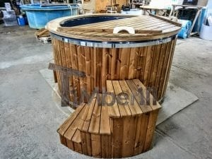 Electricity Heated Fiberglass Hot Tub With Thermowood Decoration 6