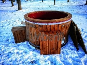 Electricity heated fiberglass hot tub with thermowood decoration 14