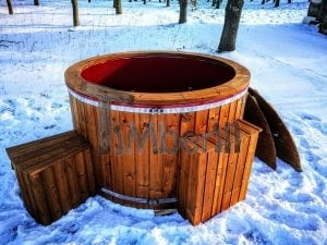 Electricity heated fiberglass hot tub with thermowood decoration 17