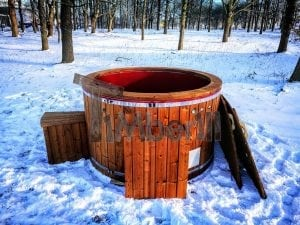 Electricity heated fiberglass hot tub with thermowood decoration 18