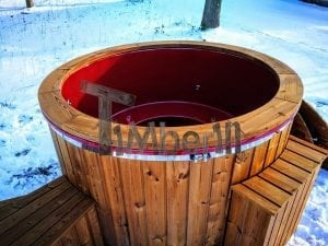 Electricity heated fiberglass hot tub with thermowood decoration 19
