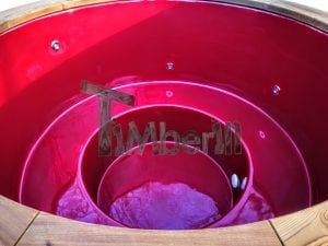 Electricity heated fiberglass hot tub with thermowood decoration 20