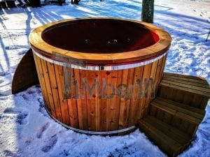Electricity heated fiberglass hot tub with thermowood decoration 21