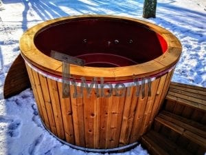 Electricity heated fiberglass hot tub with thermowood decoration 23