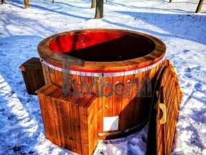 Electricity heated fiberglass hot tub with thermowood decoration 25