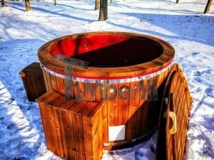 Electricity heated fiberglass hot tub with thermowood decoration 26