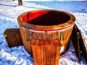 Electricity heated fiberglass hot tub with thermowood decoration 27