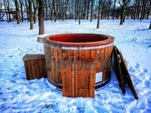 Electricity heated fiberglass hot tub with thermowood decoration 3