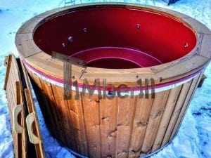 Electricity heated fiberglass hot tub with thermowood decoration 8