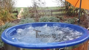 Fiberglass lined hot tub with integrated burner thermo wood Wellness Royal 2 5